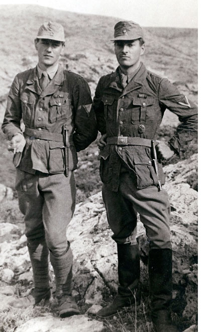 Billy Moss and Paddy Leigh Fermor in German uniform, prior to kidnapping General Kreipe. From 'Ill Met by Moonlight'