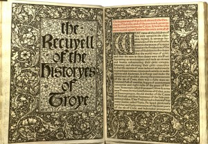 William Morris's edition of William Caxton's The Recuyell of the Historyes of Troye, the first book printed in the English language. (http://bit.ly/1GNoHTd)